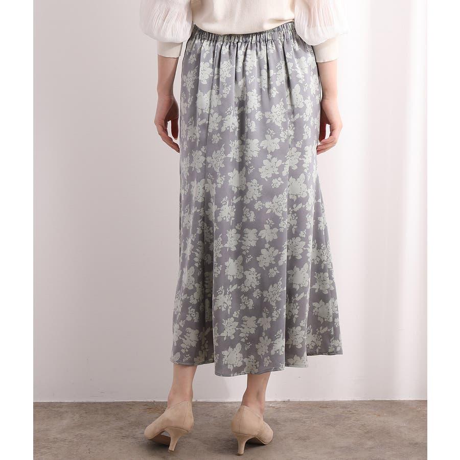 単色花柄サテンマーメイドスカート 3