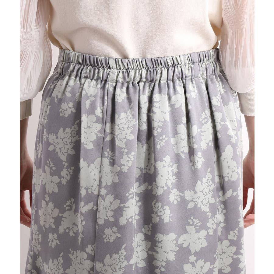 単色花柄サテンマーメイドスカート 4