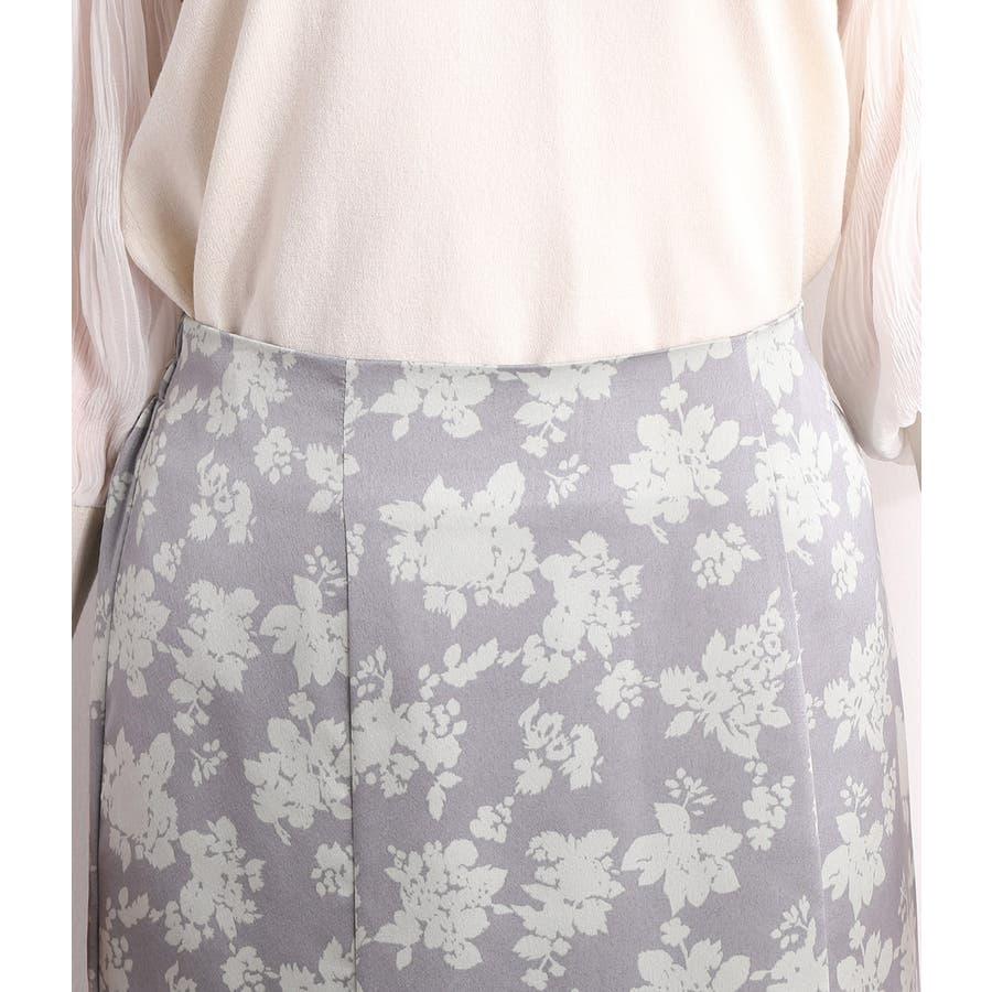 単色花柄サテンマーメイドスカート 5