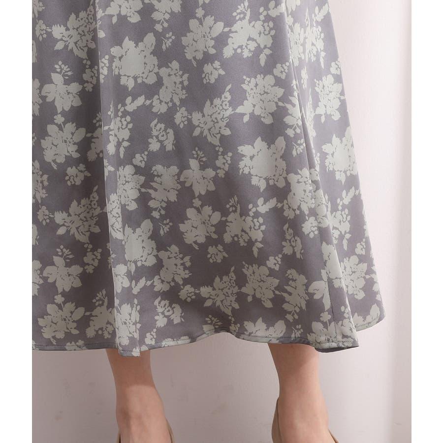 単色花柄サテンマーメイドスカート 6