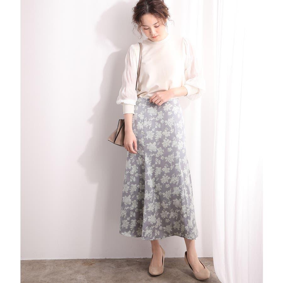 単色花柄サテンマーメイドスカート 7