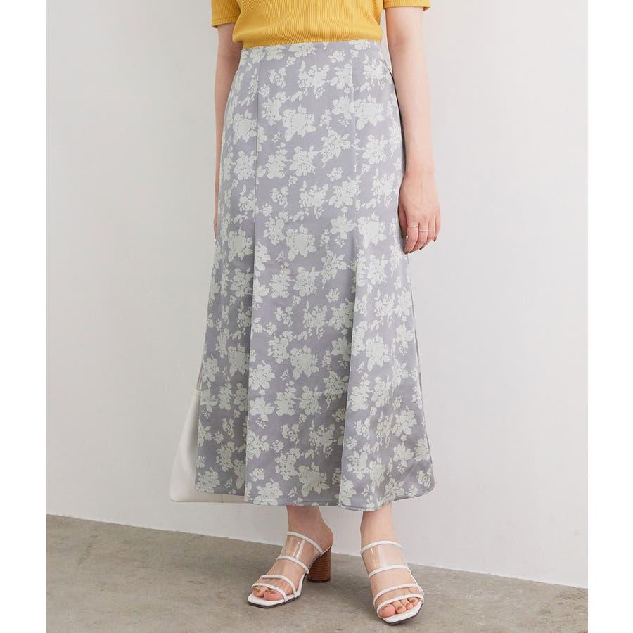単色花柄サテンマーメイドスカート 66