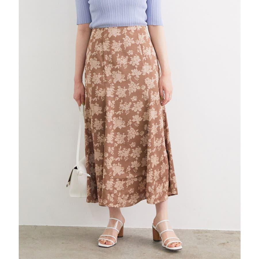 単色花柄サテンマーメイドスカート 135
