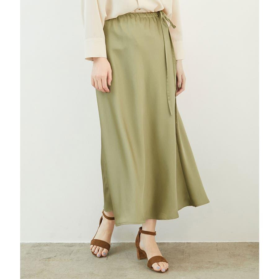 サテンサイドリボンマーメイドスカート 1