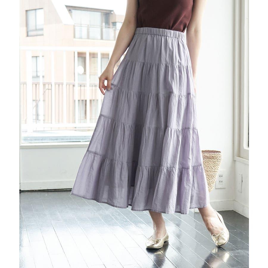 インド綿ボイルティアードスカート 80