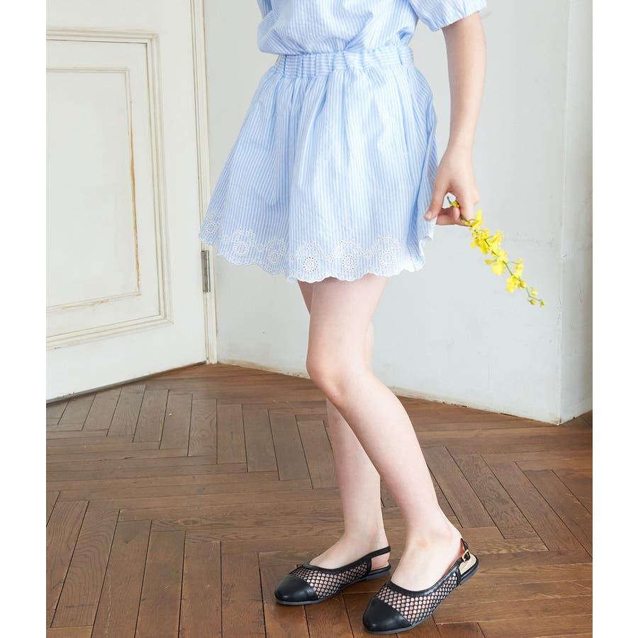 【ROPE' PICNIC KIDS】インナーパンツ付きスカラップレーススカート 59
