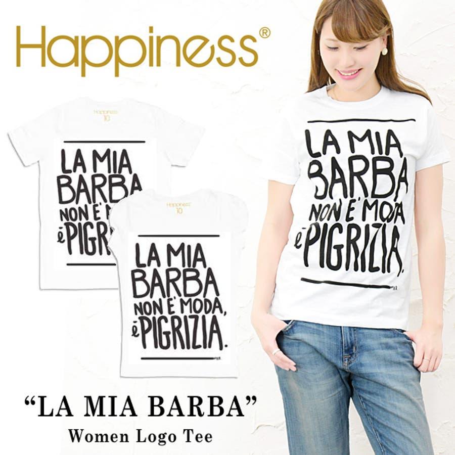 イメージぴったり メ  jg ハピネス10 ハピネステンTシャツ ロゴTシャツ 半袖 白   LA BARBA   遊び心のある 大人のためのロゴT♪雑誌 にも多数掲載されて話題の シンプル デザイン!ハピネス10 Happiness 10 レディース 莫大