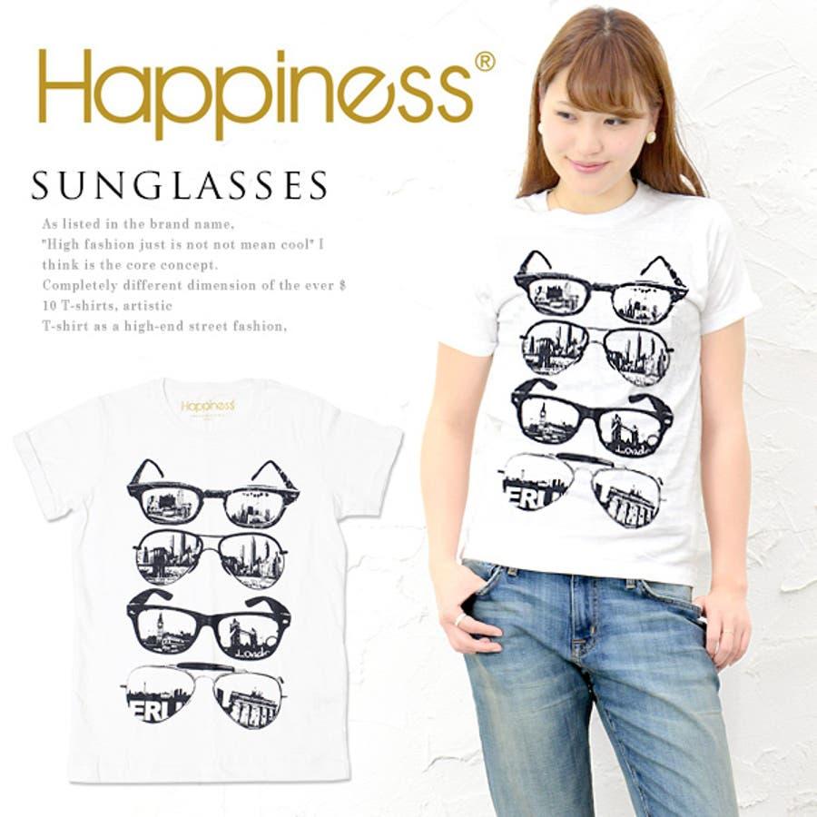 リピしました Happiness10 レディース ハピネス10 ハピネステンTシャツ ロゴTシャツ カットソー 半袖Tシャツ 白Festaiolaシンプル デザイン 魚心