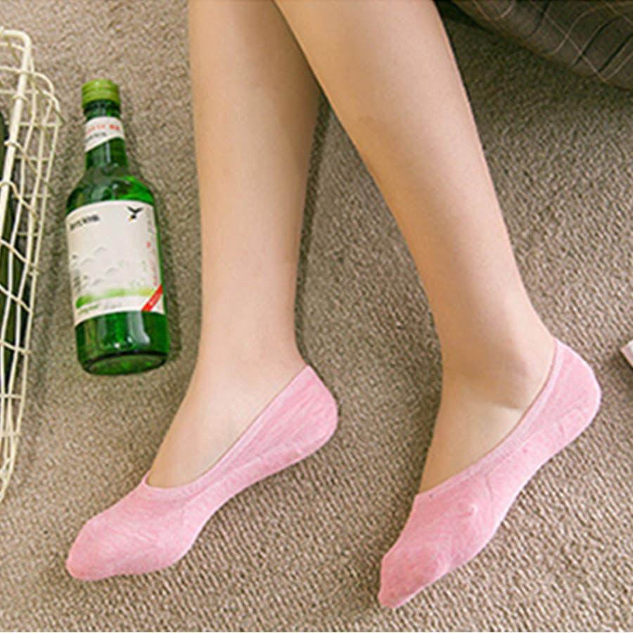 ソックス 靴下 フィットカバー インソックス 浅口 伸縮性 無地 かかと痛くない 滑りにくい 抗菌消臭加工 レディース<br> 3