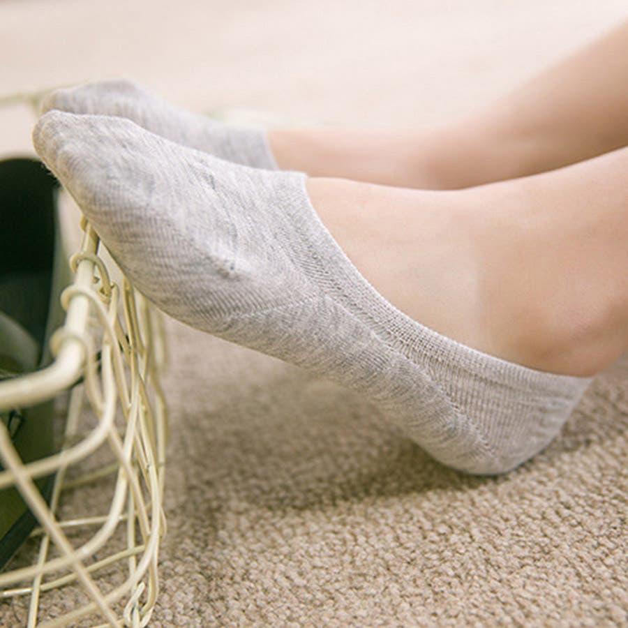 ソックス 靴下 フィットカバー インソックス 浅口 伸縮性 無地 かかと痛くない 滑りにくい 抗菌消臭加工 レディース<br> 4