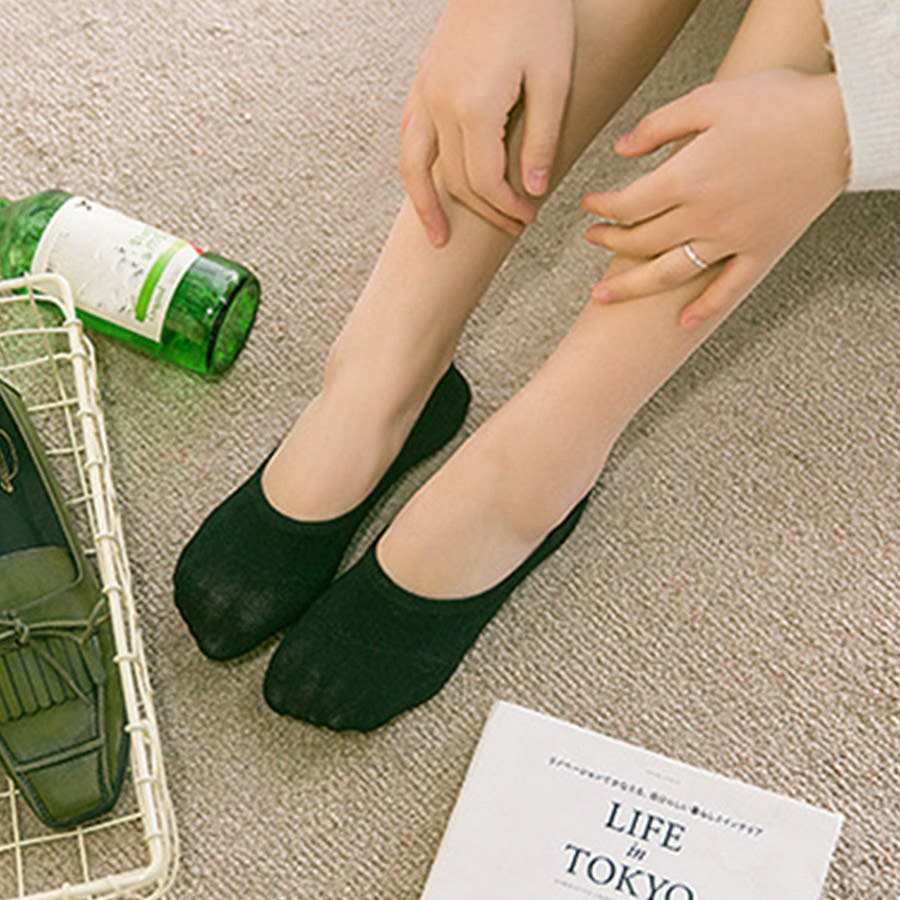 ソックス 靴下 フィットカバー インソックス 浅口 伸縮性 無地 かかと痛くない 滑りにくい 抗菌消臭加工 レディース<br> 21