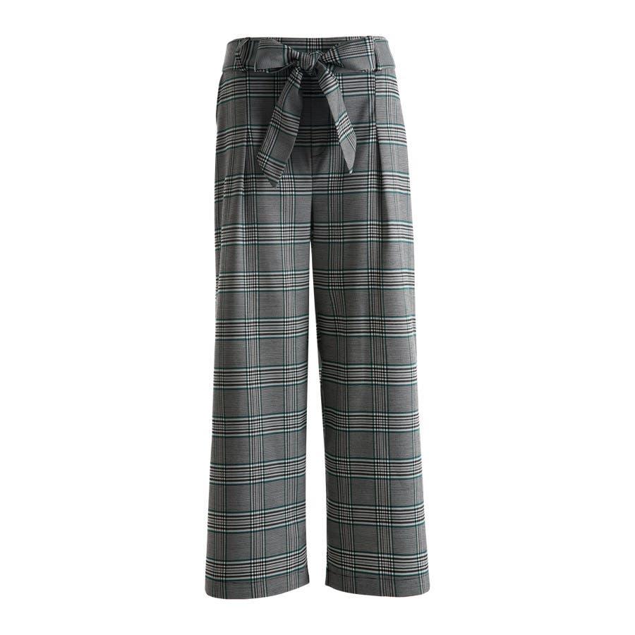 グレンチェック ワイドパンツ ベルト付き リボン 格子 タック パンツ ボトムス ウエストゴム 伸縮 レディース 3色 2