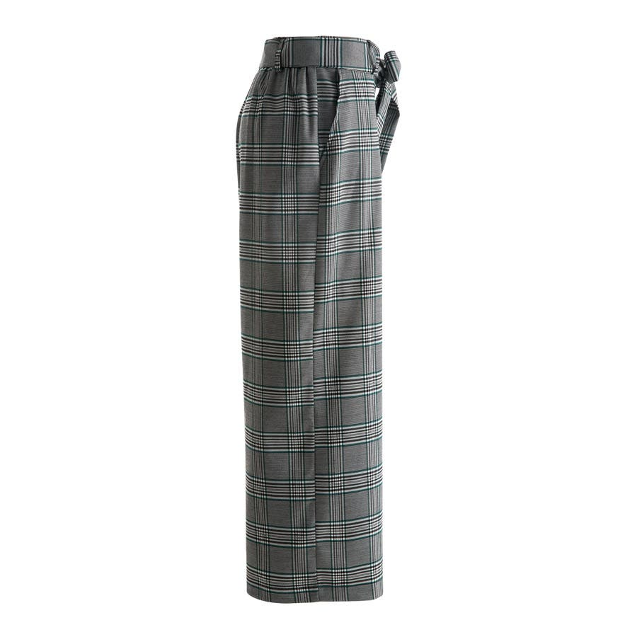 グレンチェック ワイドパンツ ベルト付き リボン 格子 タック パンツ ボトムス ウエストゴム 伸縮 レディース 3色 3