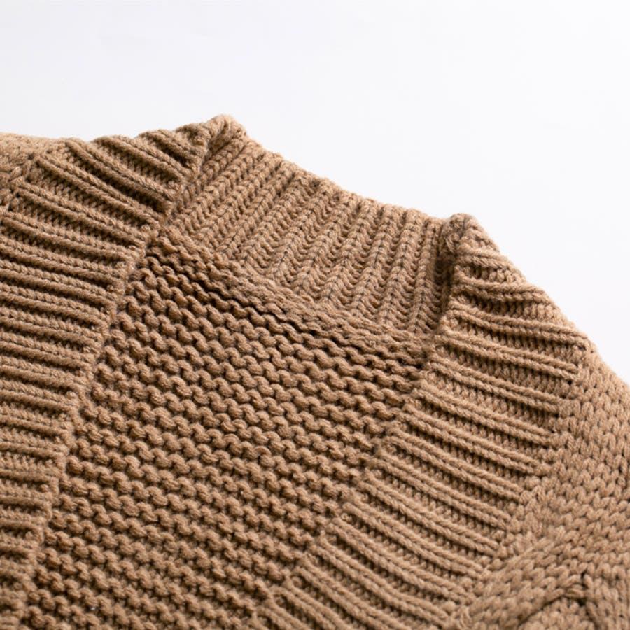 ケーブル編み ニット カーディガン レディース カーデ ミドル丈 オーバー ゆったり 羽織 アウター ボリューム感 ドロップショルダー リブ袖 立体的<br> 3
