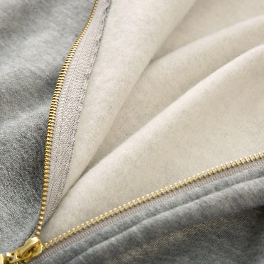 タックフリルシフォンパーカー レディース フード付 ジップアップ 羽織り Iライン ポケット付き アウター 防寒対策 M L<br> 7