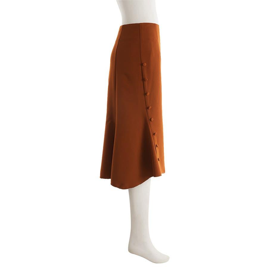 マーメイドタイトスカート タック 美脚効果 ミモレ丈 サイドボタン付き ファスナー付 フレア裾 伸縮性 しっかりボトムスタイトスカート同色ボタン 裏地付き オフィス レディース 3