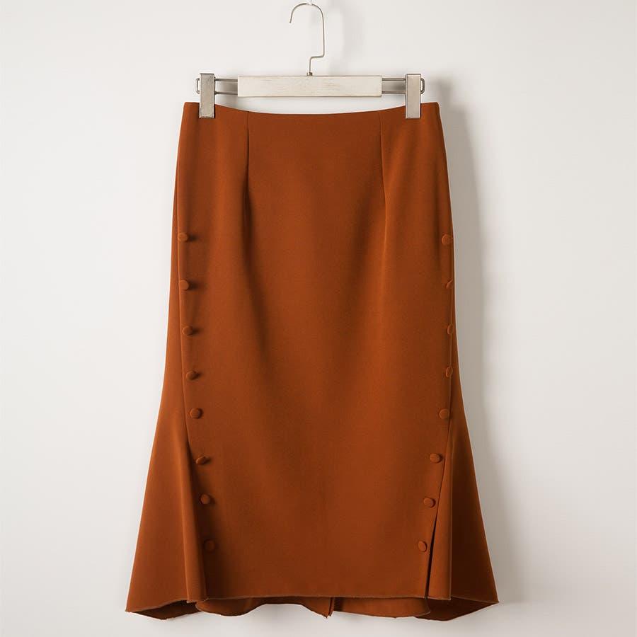 マーメイドタイトスカート タック 美脚効果 ミモレ丈 サイドボタン付き ファスナー付 フレア裾 伸縮性 しっかりボトムスタイトスカート同色ボタン 裏地付き オフィス レディース 7