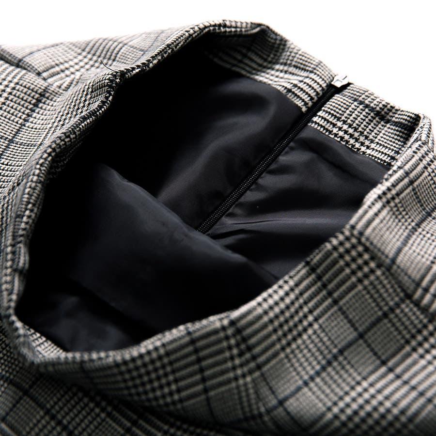 グレンチェックスカート 花びらデザイン ゆるゆる ミモレ丈スカート アシンメトリー ロングスカート 個性 ボトムスレディース 8