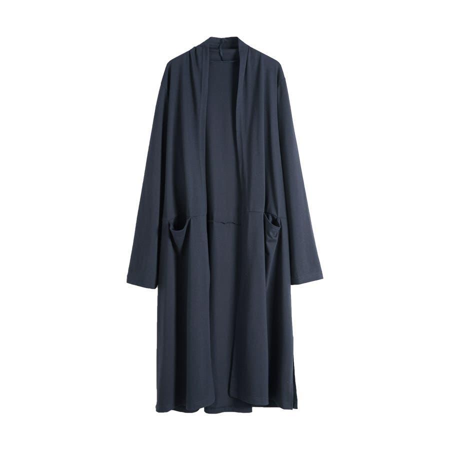 UV紫外線カット カーディガン コットン ノーカラー 速乾 汗吸収 涼しげな ロング丈 アウター カーデショール風カーデ ポケット付 レディース<br> 64