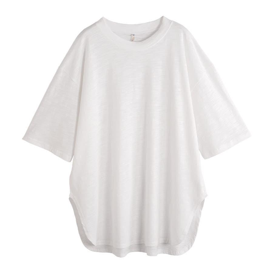 カットソー レディース Tシャツ コットン ゆったり スリット入 オーバーサイズ トップス M L<br> 16