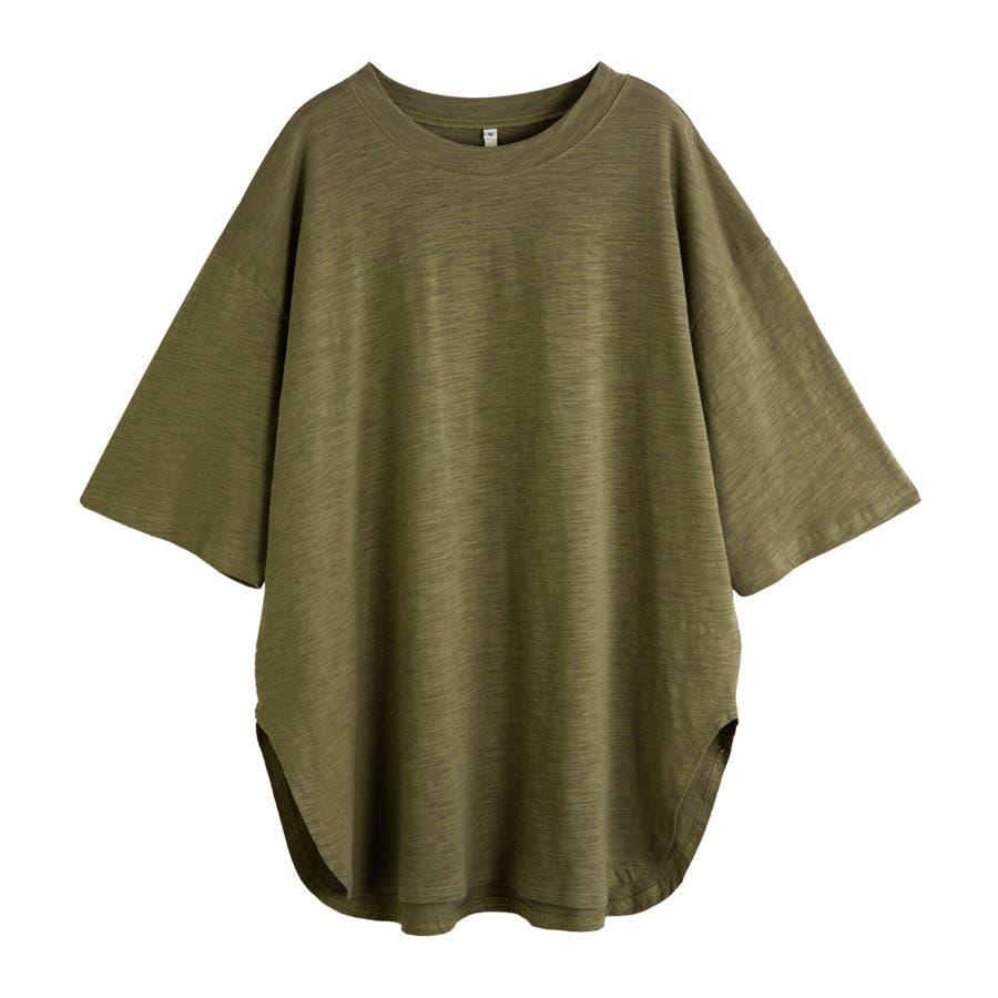 カットソー レディース Tシャツ コットン ゆったり スリット入 オーバーサイズ トップス M L<br> 53