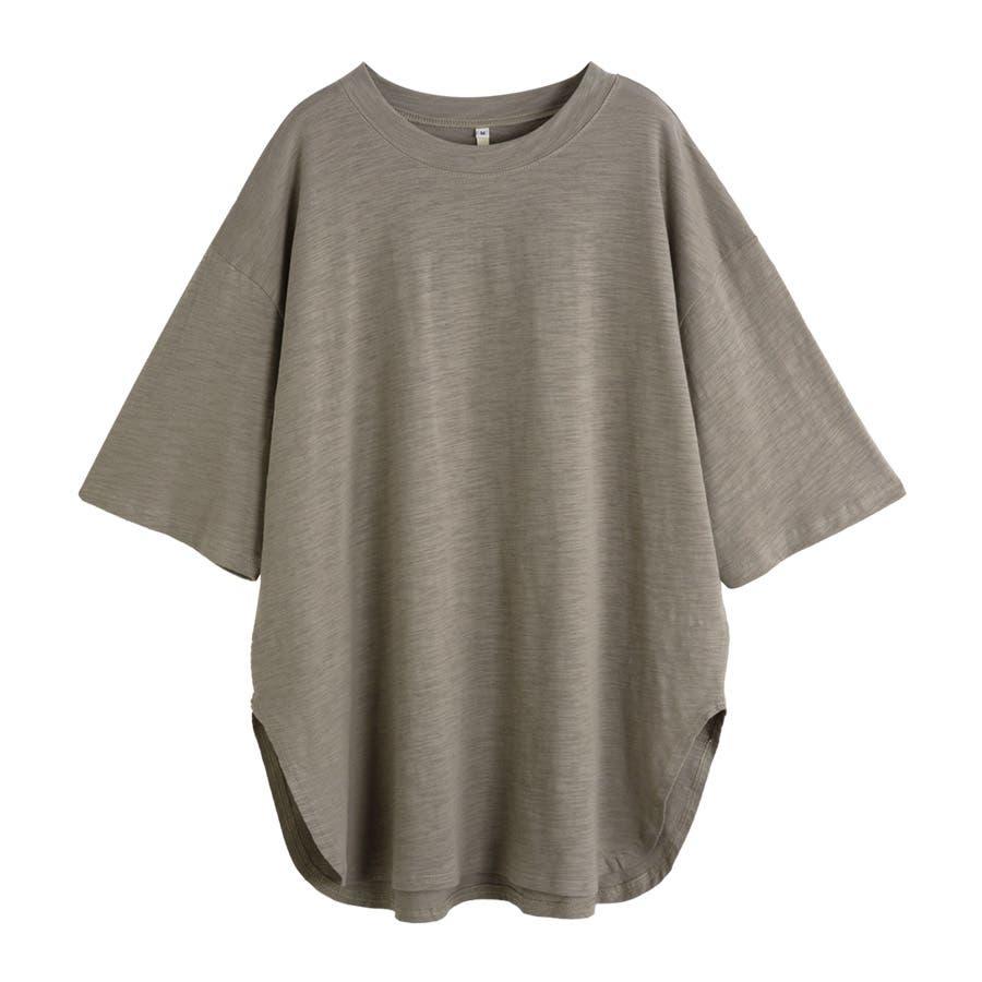 カットソー レディース Tシャツ コットン ゆったり スリット入 オーバーサイズ トップス M L<br> 25