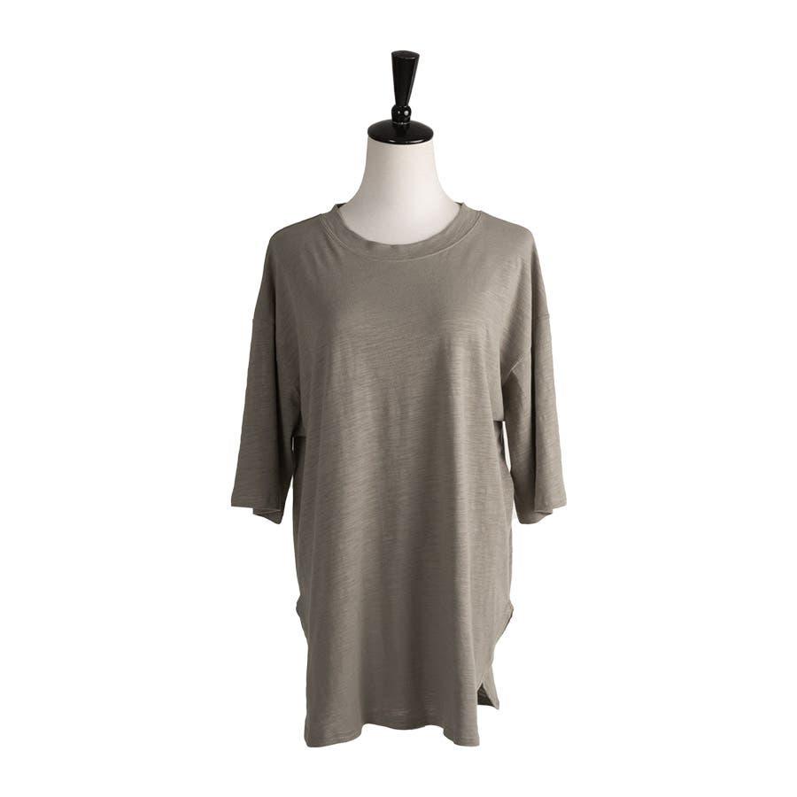 カットソー レディース Tシャツ コットン ゆったり スリット入 オーバーサイズ トップス M L<br> 2