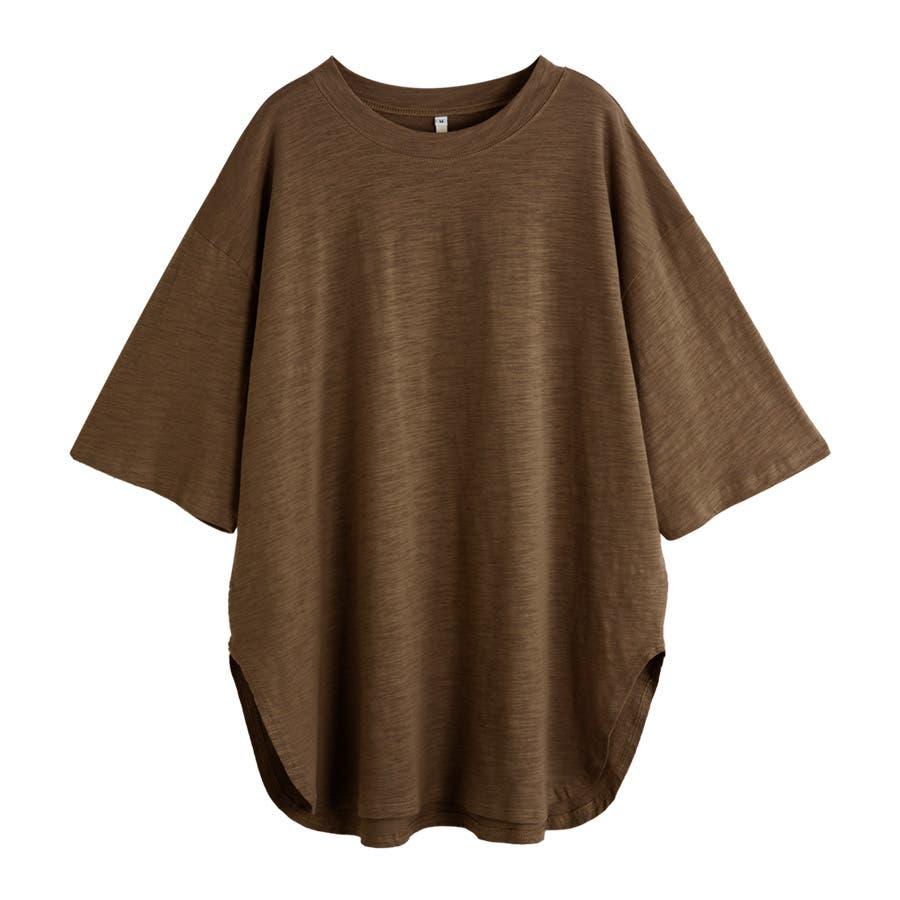 カットソー レディース Tシャツ コットン ゆったり スリット入 オーバーサイズ トップス M L<br> 40