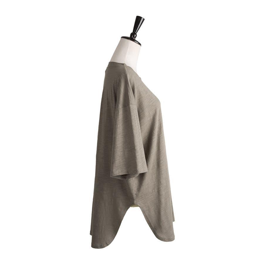 カットソー レディース Tシャツ コットン ゆったり スリット入 オーバーサイズ トップス M L<br> 3