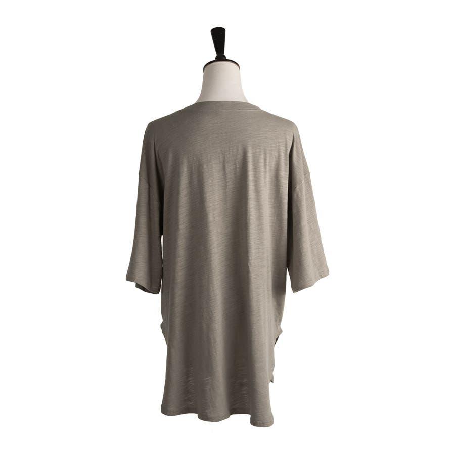 カットソー レディース Tシャツ コットン ゆったり スリット入 オーバーサイズ トップス M L<br> 4