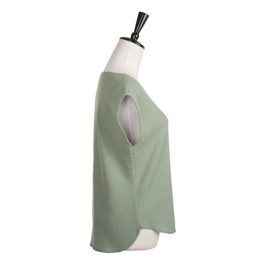 フレンチ袖カットソー レディース ワッフル素材 コットン混 ノースリーブトップス ボートネックトップス 表面感 ベーシック 3