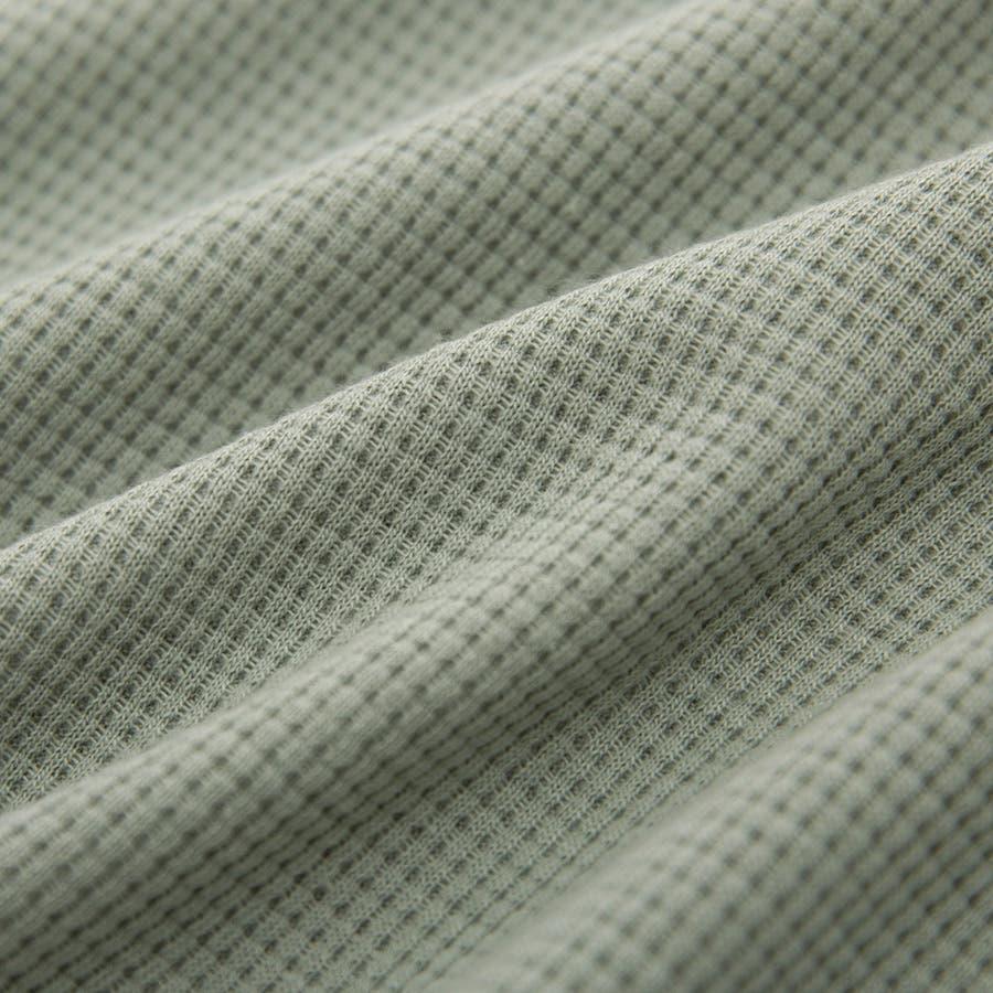 フレンチ袖カットソー レディース ワッフル素材 コットン混 ノースリーブトップス ボートネックトップス 表面感 ベーシック 5