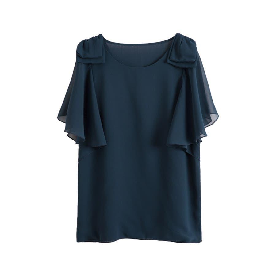 半袖シャツ 二の腕ほっそり見せ♪とろみ質感 ショルダーフリル 無地 ボーダー カットソー トップス UVケア Tシャツレディースkarei 64