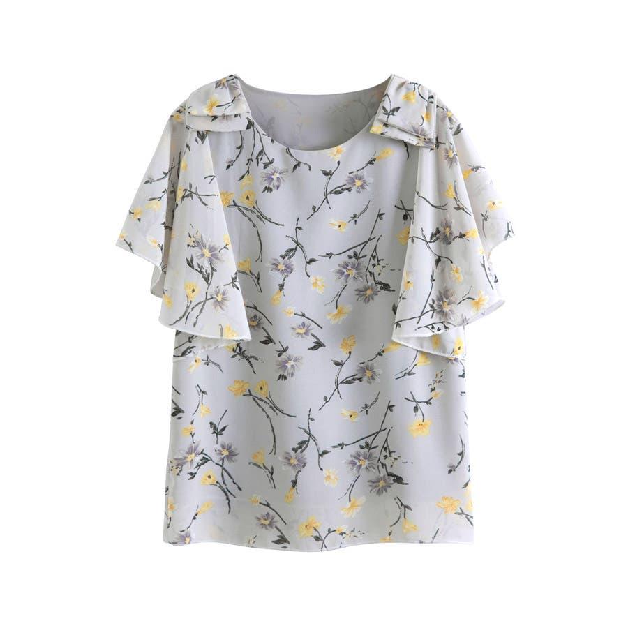 半袖シャツ 二の腕ほっそり見せ♪とろみ質感 ショルダーフリル 無地 ボーダー カットソー トップス UVケア Tシャツレディースkarei 23