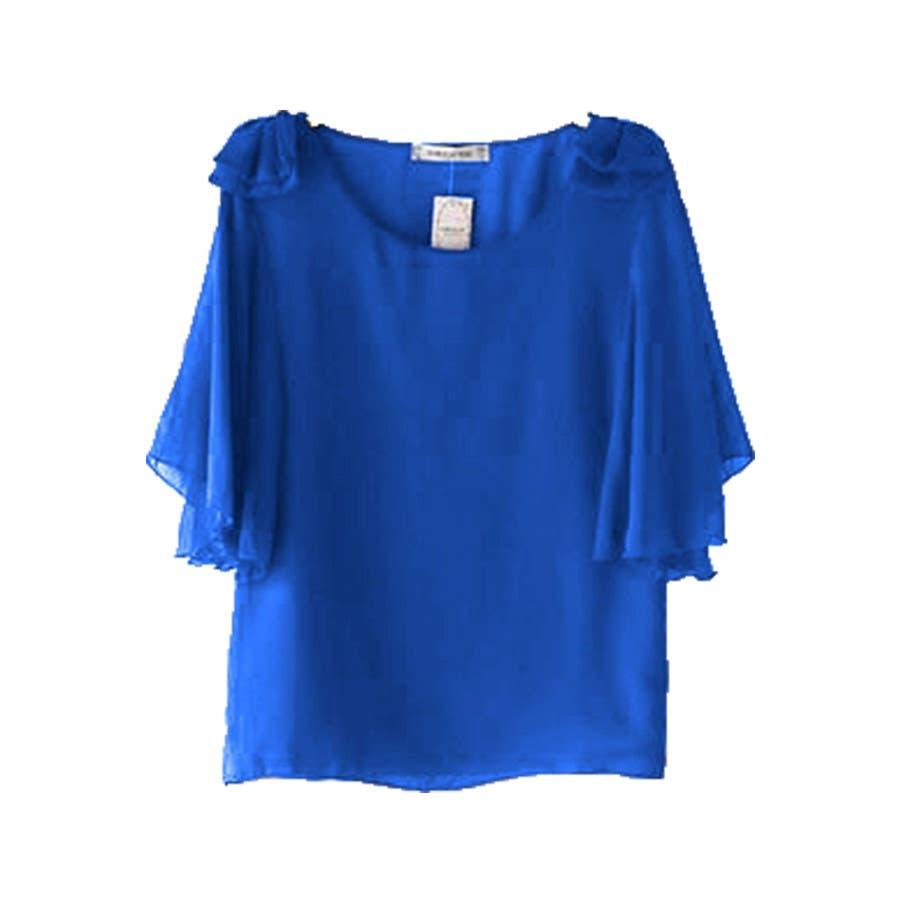 半袖シャツ 二の腕ほっそり見せ♪とろみ質感 ショルダーフリル 無地 ボーダー カットソー トップス UVケア Tシャツレディースkarei 59