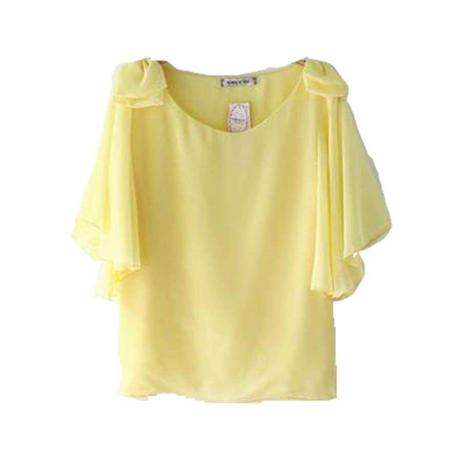 半袖シャツ 二の腕ほっそり見せ♪とろみ質感 ショルダーフリル 無地 ボーダー カットソー トップス UVケア Tシャツレディースkarei 83