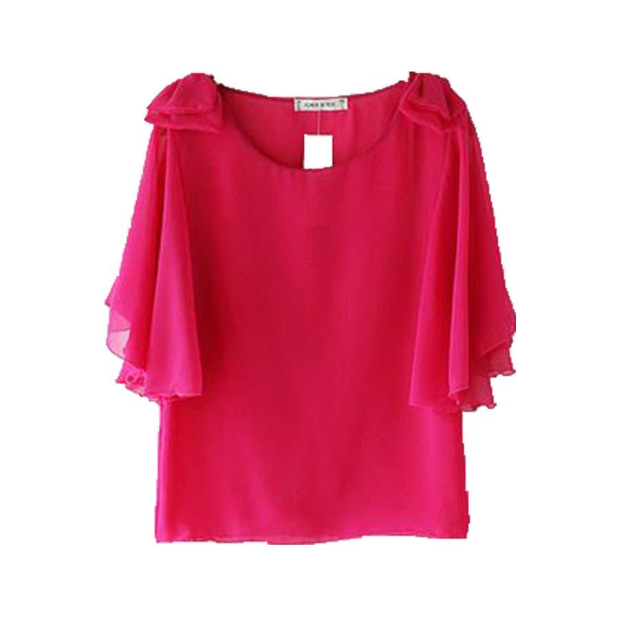 半袖シャツ 二の腕ほっそり見せ♪とろみ質感 ショルダーフリル 無地 ボーダー カットソー トップス UVケア Tシャツレディースkarei 87