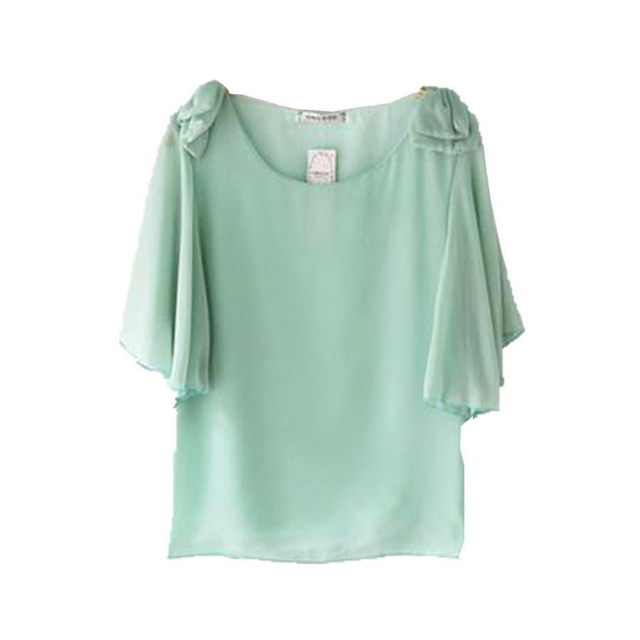 半袖シャツ 二の腕ほっそり見せ♪とろみ質感 ショルダーフリル 無地 ボーダー カットソー トップス UVケア Tシャツレディースkarei 47