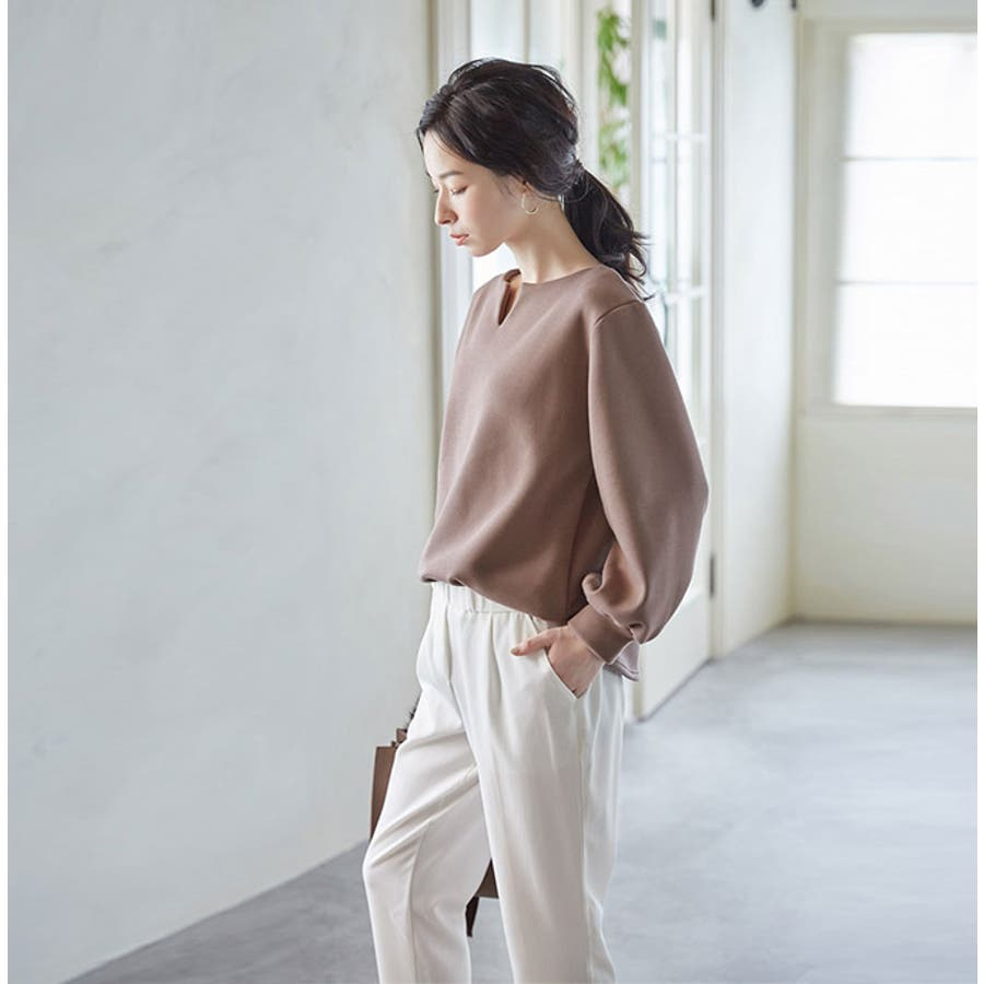 グレンチェック テーパードパンツ タック入りウエストゴム シンプル  ダブル裾 斜めポケット レディース 春夏karei 5