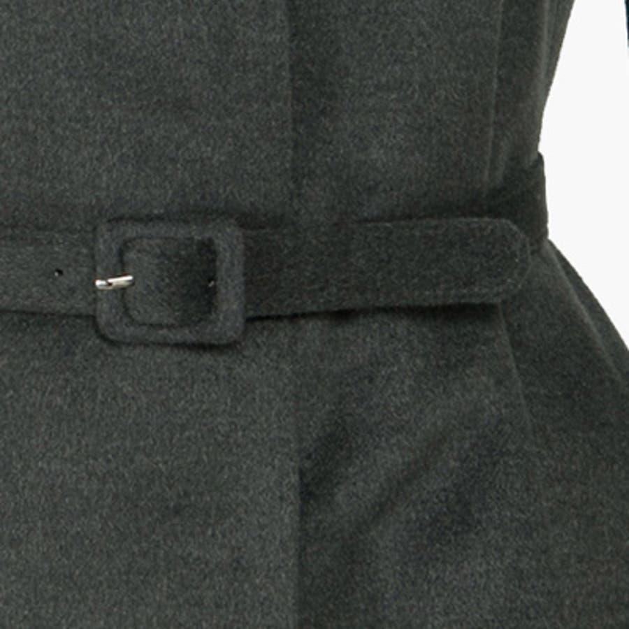 【jk13251】すっきりとしたノーカラーにフレアデザインで女性らしいシルエットに演出してくれるノーカラーフレアコート(ベルトセット) 9