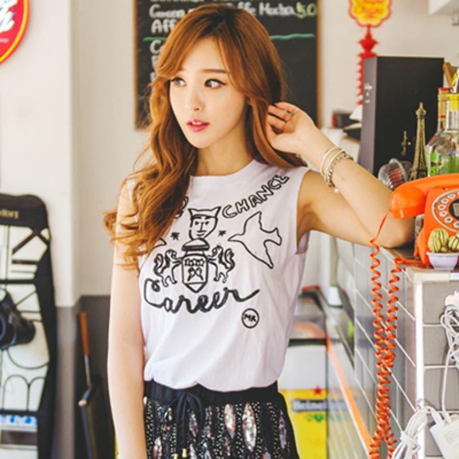 可愛いのにオトナ! ts14510 ゆるいイラスト風刺繍が可愛い♪ラウンドネック刺繍ノースリーブカットソー 下車