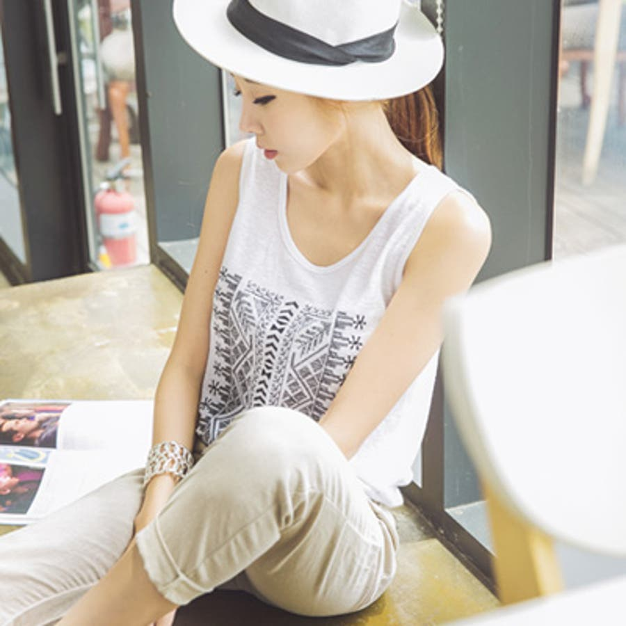 【ts14913】ボヘミアン風刺繍が可愛い♪ゆとりあるサイズ感と薄くて軽い素材感でリラックスした着心地♪ボヘミアン刺繍タンクトップ 5