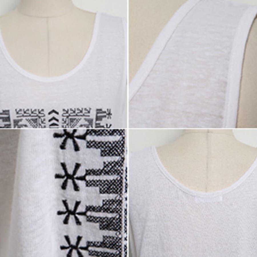 【ts14913】ボヘミアン風刺繍が可愛い♪ゆとりあるサイズ感と薄くて軽い素材感でリラックスした着心地♪ボヘミアン刺繍タンクトップ 8