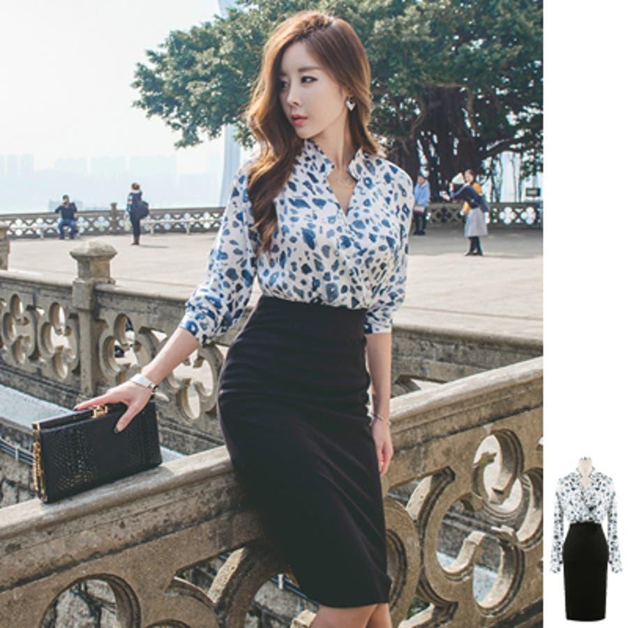 オリジナル商品  op16326 ブラウスとスカートを合わせたようなおしゃれなデザイン♪豹柄配色レイヤード風膝丈ワンピース 既定