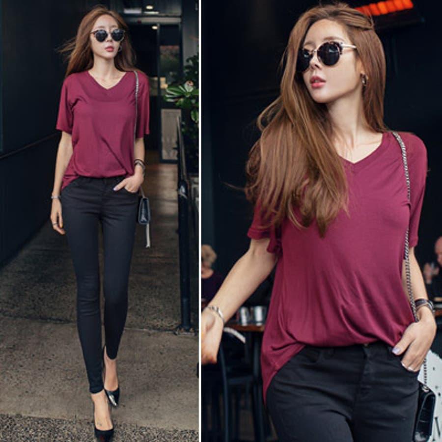 【ts16495】レーヨン100%で触り心地◎♪色違いで揃えたくなるシンプルVネック半袖Tシャツ 4