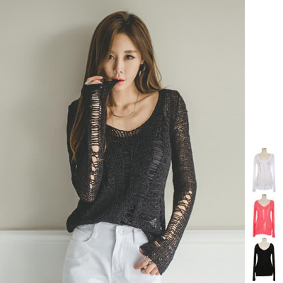 めっちゃgood! ts16845 ざっくりとした透かし編みが可愛い♪透かし編みクラッシュ風Vネックニットトップス 媒体