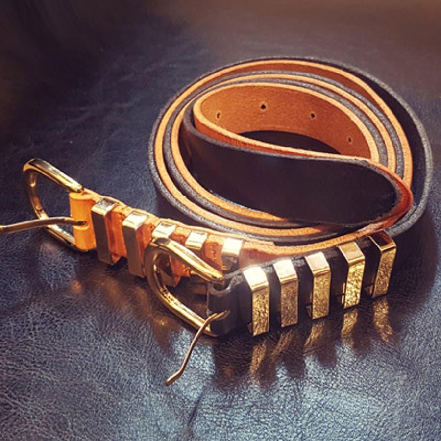 【bl17415】輝くゴールドが上品♪牛革レザー5本ゴールドラインベルト 5