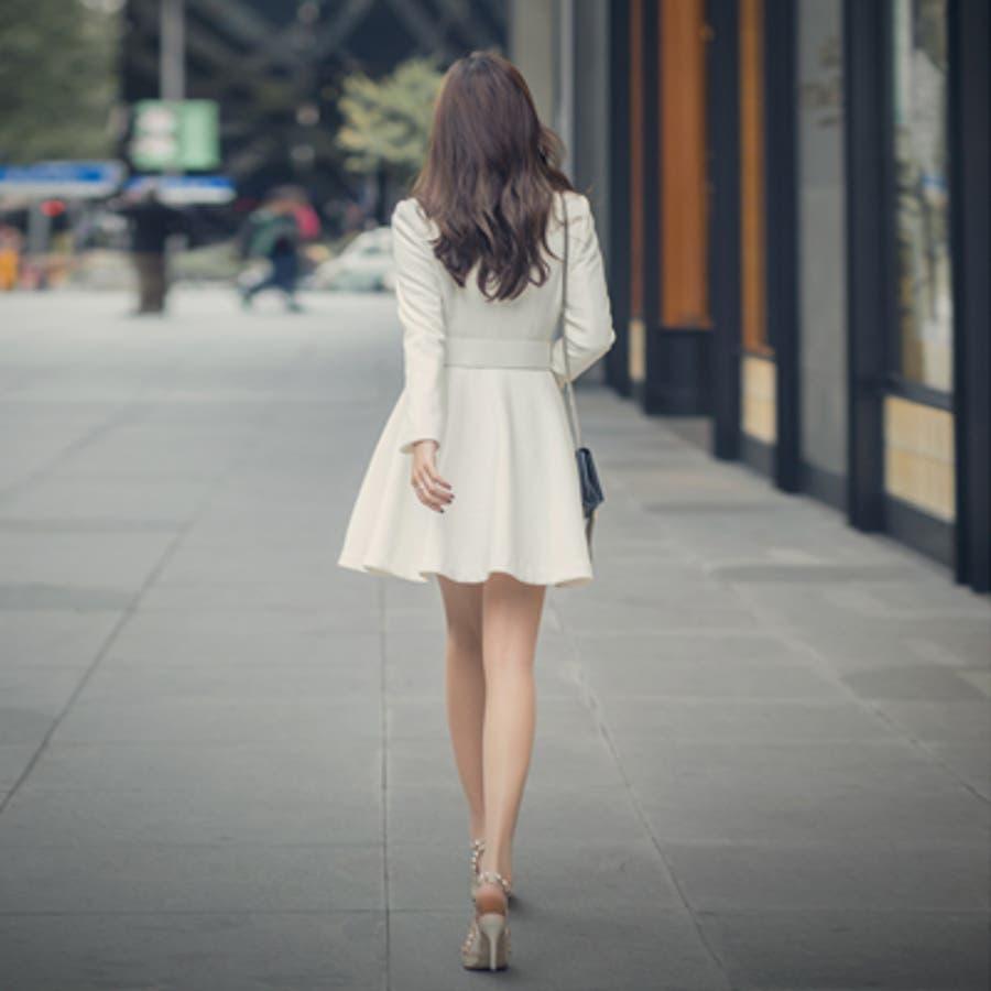 【オリジナル商品】【jk17641】女性らしくフェミニンな印象を与える♪ワンピース風ミディアム丈フレアコート(ベルトセット) 6