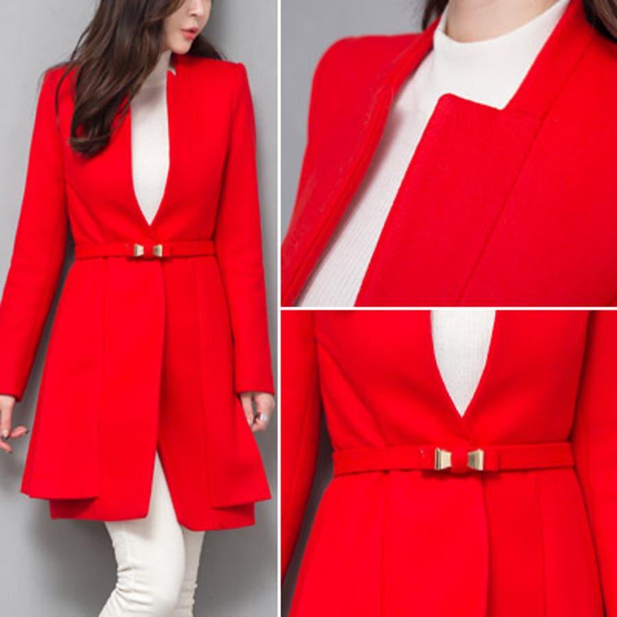 【jk17781】鮮やかなレッドカラーで豪華な印象♪スリムラインベルトジャケット(ファーマフラー&ベルトSET) 2
