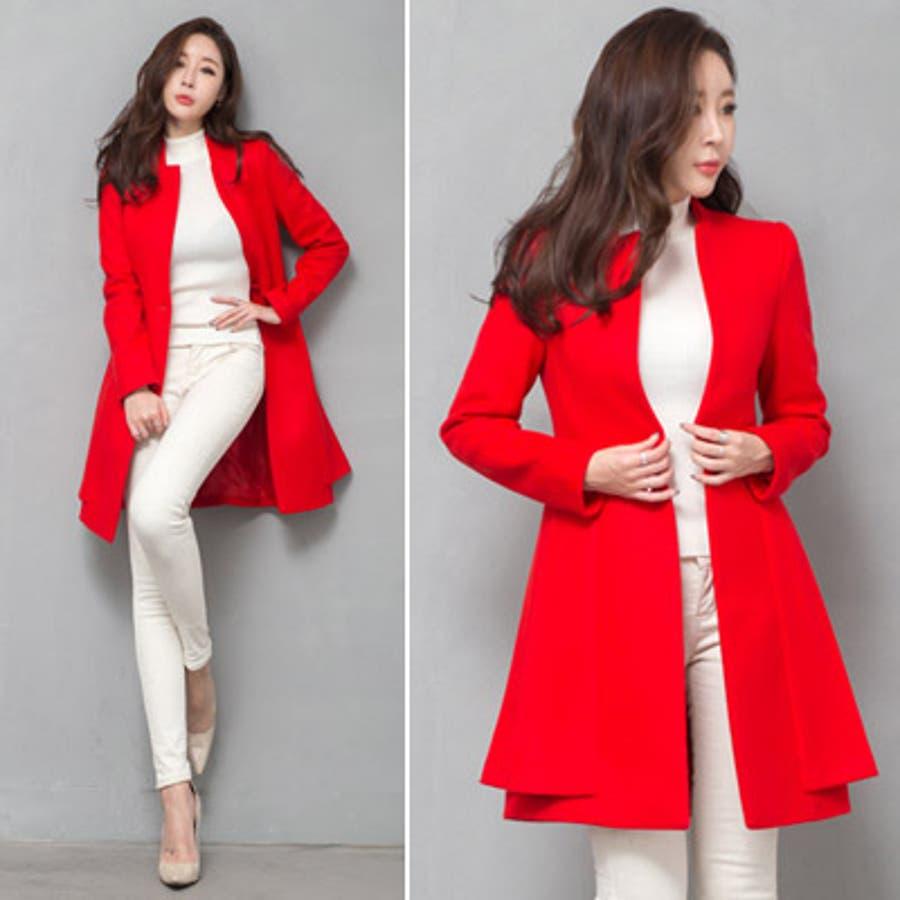【jk17781】鮮やかなレッドカラーで豪華な印象♪スリムラインベルトジャケット(ファーマフラー&ベルトSET) 3